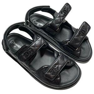 Chanel NIB 2021 Black Leather Flats Dad Sandals